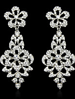 Lady's Multi-Stone Zircon Crystal Silver Chandelier Drop Earrings for Wedding Party Jewelry