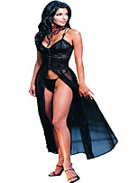 Hot Sexy Lingerie Women's Night Gown Long Robe Lace Sheer Babydoll Underwear Sleepwear Black 5022