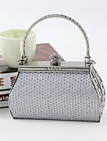 Women PU / Metal Minaudiere Tote / Clutch / Evening Bag / Wristlet-Silver