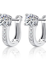 Women's Silver/Silver and Gold Hoop Earrings With Cubic Zirconia