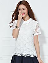 Women's Sexy/Casual Inelastic Short Sleeve Regular Shirt (Organza)