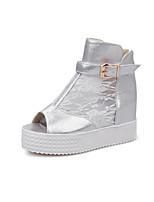 Chaussures Femme - Habillé - Noir / Blanc / Argent - Plateforme - Bout Ouvert - Sandales - Similicuir