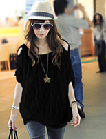 Women's Sexy Casual Cute Inelastic ½ Length Sleeve Regular Blouse (Chiffon)