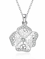 Cremation Jewelry 925 sterling silver Hollow Flower with Zircon Pendant Necklace for Women