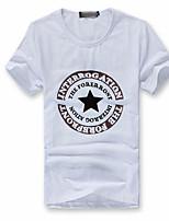 Men's Short Sleeve T-Shirt , Cotton Blend Casual/Sport Print