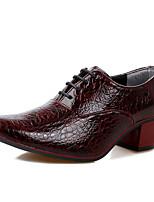 Masculino Oxfords Sapatos formais Primavera Outono Micofibra Sintética PU Festas & Noite Cadarço Rasteiro Salto Grosso Branco Preto Azul