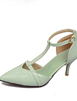 Women's Shoes Faux Stiletto Heel Heels/T-Strap/Pointed Toe/Closed Toe Pumps/Heels /Dress/Casual Green/White