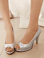 Women's Shoes Chunky Heel Heels/Open Toe Sandals Dress Black/Pink/Silver
