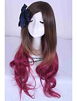 70cm Long Women Lady Synthetic Hair Ombre Wig Brown With Red Cosplay Halloween Party Wig