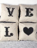 Set of 4 LOVE Pillowcase Sofa Home Decor Cushion Cover (17*17 inch)