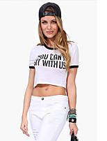 Women's Sexy Casual Plus Sizes Micro-elastic Short Sleeve Short T-shirt (Cotton)