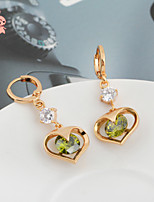 KuNiu Women's Classic 18K Gold Plated Round Three color Heart Earrings ER0176