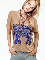 Tee-shirt Aux femmes Manches Courtes Col Arrondi Coton