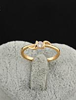 KuNiu Women's High Quality Classic 18K Gold Plated White Zircon Wedding Rings J0317