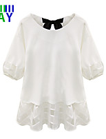 ZAY Women's Pretty Plus Size ½ Length Sleeve All Match T-shirt with Bowknot