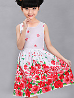 Girl's Cotton Dress , Summer/Spring/Fall Sleeveless