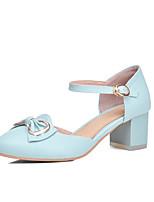 Damen-Sandalen-Büro Kleid Lässig-PU-Blockabsatz-Komfort Knöchelriemen-