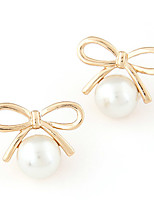 Women's Boutique Fashion Sweet Bow Stud Earrings With Imitation Pearl