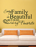 Wall Stickers Wall Decals Style Family is Beautiful English Words & Quotes PVC Wall Stickers