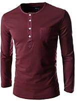 Herren Freizeit/Büro/Sport/Übergröße T-Shirt  -  Druck Lang Baumwolle/Baumwollmischung