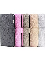 For iPhone 6 Case / iPhone 6 Plus Case Wallet / Card Holder / with Stand / Flip / Embossed Case Full Body Case Solid Color Hard PU Leather
