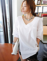 Women's Casual Inelastic ¾ Sleeve Long Shirt (Roman Knit Microfiber)