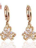 KuNiu Women's Vintage 18K Gold Plated Lovely Folwer Dangle Earrings ER0198