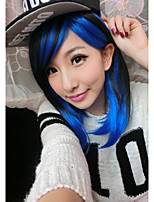 Fashion Two Tone Black Blue Cosplay Wig Short Straight Fluffy Hair Wigs For Women