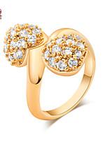 KuNiu Women's High Quality Classic 18K Gold Plated Two Loving Rings J0344