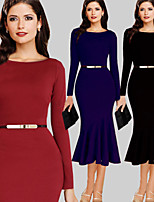 Monta Women's Vintage/Sexy/Party Round Long Sleeve Dresses (Cotton Blend)