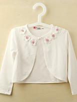 Girl's Cotton Fashion Flower Micro-elastic Thin Long Sleeve Jackets & Coats