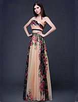 Dress A-line Strapless Floor-length Chiffon Dress