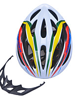 High-Breathability PVC+EPS Black Bicycle Helmet With Detachable Sunvisor (20Vents) - Yellow + White + Green + Red