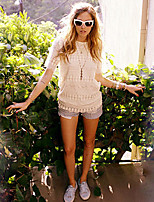 Women's Vintage Sexy Casual Micro-elastic Short Sleeve Long T-shirt (Lace)