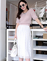 Women's Casual Lace Micro-elastic Medium Midi Skirts (Lace)