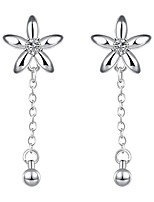 Elegant Silver Plated Five Petal Flowers Tassels Waterdrop Earrings for Party Women Jewelry Accessiories