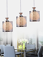 Modern Glass 3 Lights Pendant With Black Small Circles Pattern