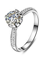 1CT 6.5mm 4Prongs Setting Ring Engagement SONA Diamond Ring for Women Sterling Silver Pt950 Engraved Micro Paved