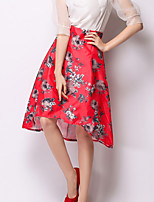 Women's Red Skirts , Casual/Print Asymmetrical