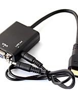 HDMI macho para VGA 1080p& vídeo HD Audio adaptador conversor de cabo