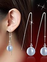 Women's Tassel Silver Drop Earrings With White Opal