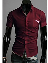 Men's Short Sleeve Shirt , Cotton Blend Casual/Work/Formal Pure