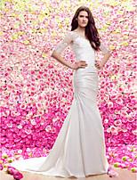 시스/컬럼 V 넥 쿼트 트레인 웨딩 드레스 (레이스/사틴)