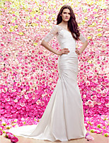 Lan Ting Sheath/Column V-neck Court Train Wedding Dress (Lace/Satin)