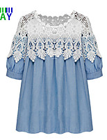 ZAY Women's Vintage/Casual Lace Splicing Plus Size Short Sleeve Mini Dress