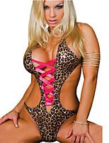 Sexy Hot Teddies Lingerie Women Leopard PU Material Babydoll Underwear Sleepwear G-string 8087