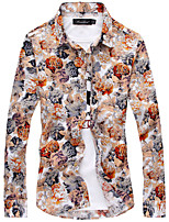 2015 spring and autumn men long sleeved floral shirt printing Korean cultivating leisure trend of men's shirt