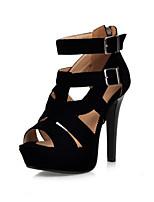 Chaussures Femme-Bureau & Travail / Habillé / Décontracté-Noir / Rouge-Talon Aiguille-Talons / Bout Ouvert / A Plateau / Gladiateur-