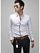 Men's Long Sleeve Shirt , Cotton Blend Casual/Work/Formal Pure