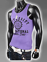 Men's Sexy/Casual/Work/Sport Print Short Sleeve Regular Vests (Cotton/Elastic)